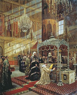 Tsar Alexis praying before the relics of Metropolitan Philip